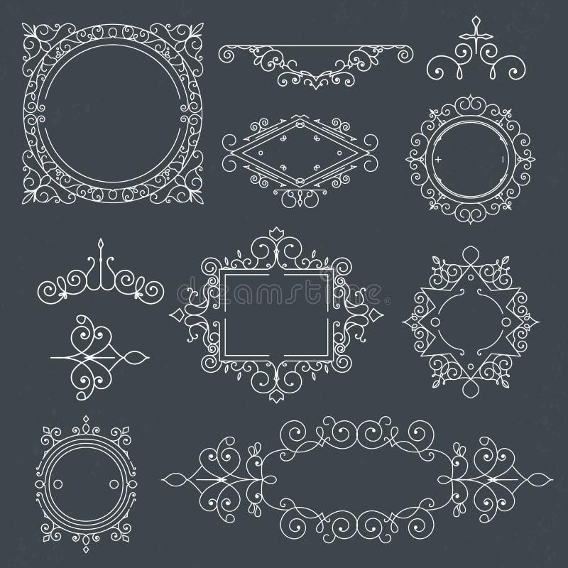 Uppsättningen av tappningramar för lyxiga logoer för kafé, shoppar, lagrar, beträffande royaltyfri illustrationer
