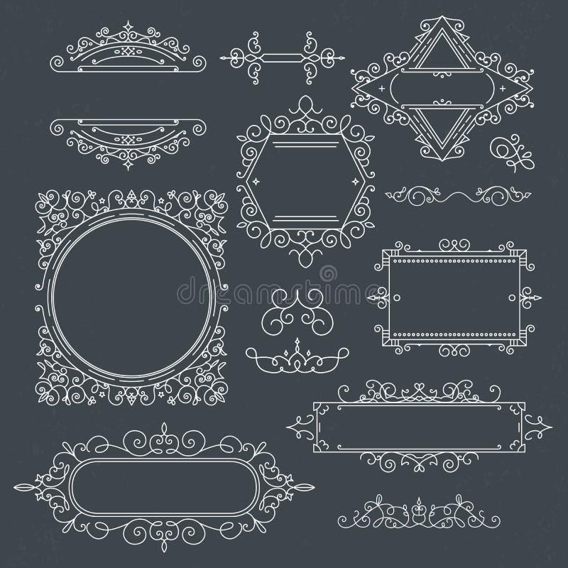 Uppsättningen av tappningramar för lyxiga logoer för kafé, shoppar, lagrar, beträffande vektor illustrationer