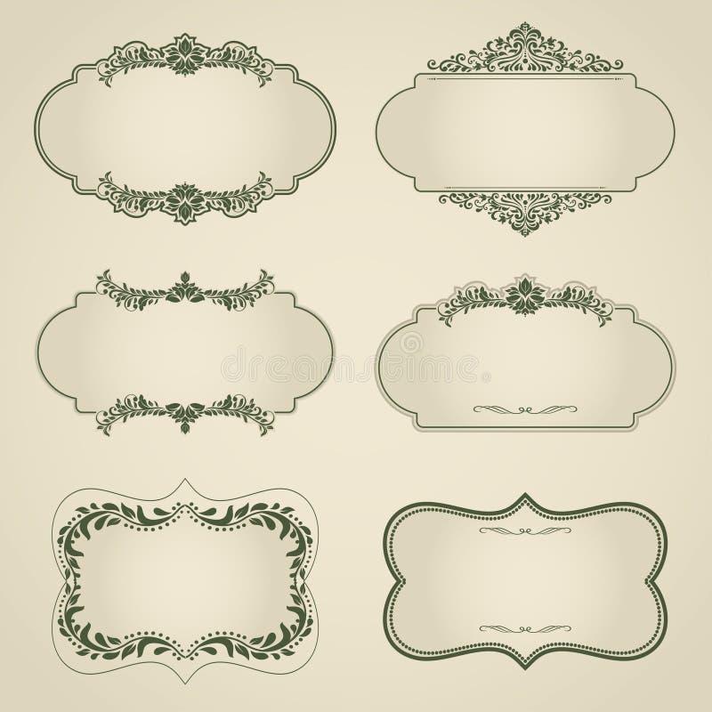 Uppsättningen av tappningvektorn märker, ramar, gränser. royaltyfri illustrationer