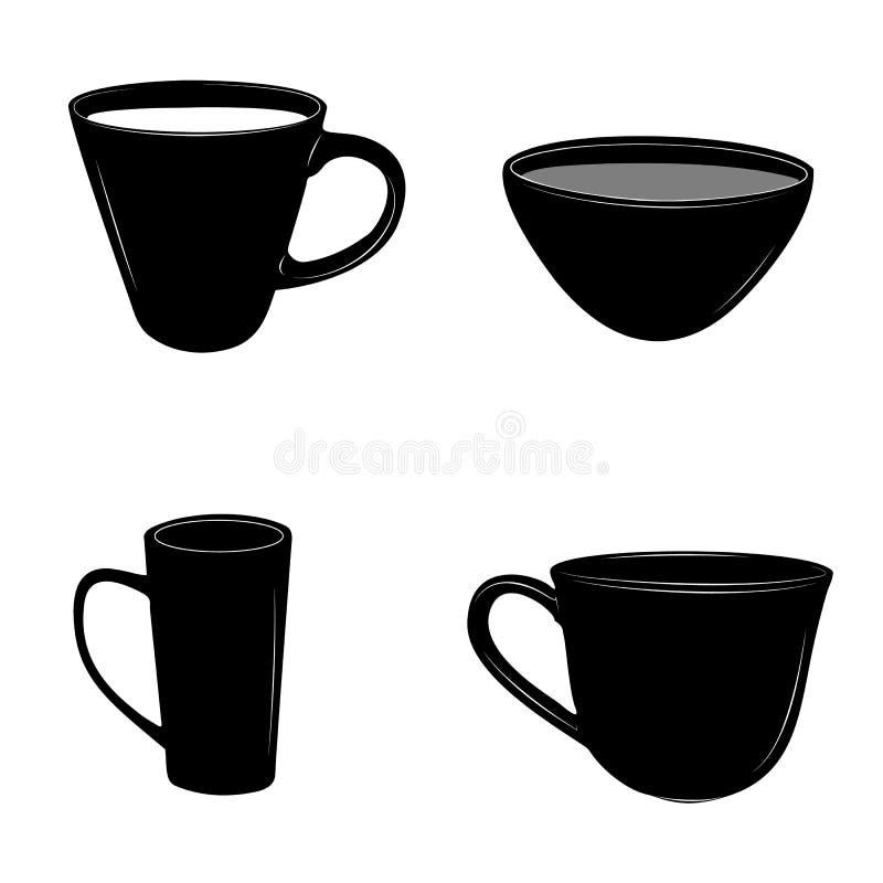 Uppsättningen av te- och kaffekoppar planlägger vektorillustrationen royaltyfri illustrationer