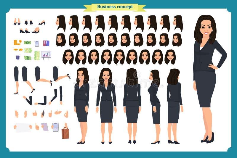 Uppsättningen av teckenet för affärskvinnateckendesignen med olika sikter, poserar och gör en gest stil isolerad plan vektor asia vektor illustrationer