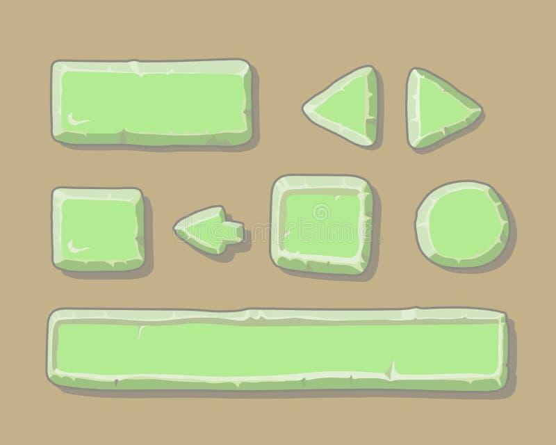Uppsättningen av tecknad filmgräsplan knäppas för rengöringsduk eller lek stock illustrationer