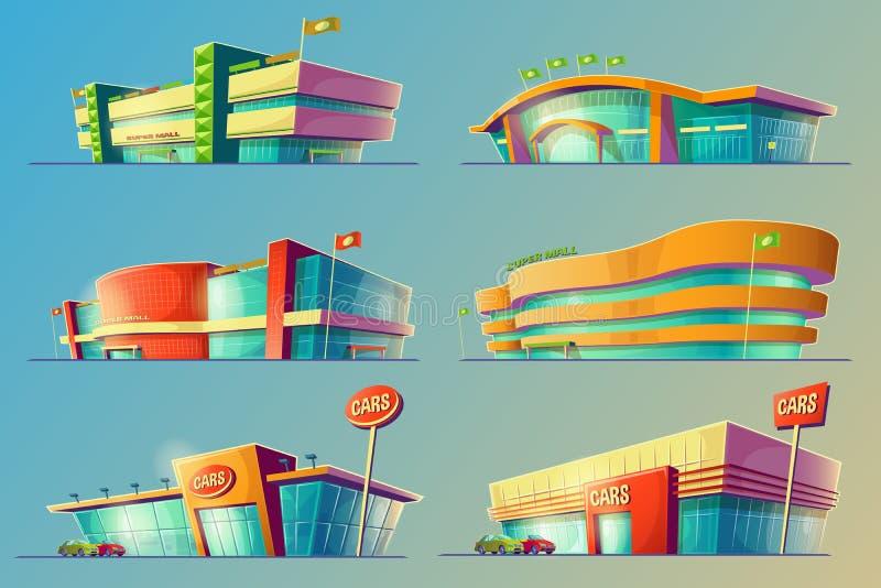 Uppsättningen av tecknad filmillustrationer, olika supermarketbyggnader, shoppar, stora gallerior, diversehandel stock illustrationer