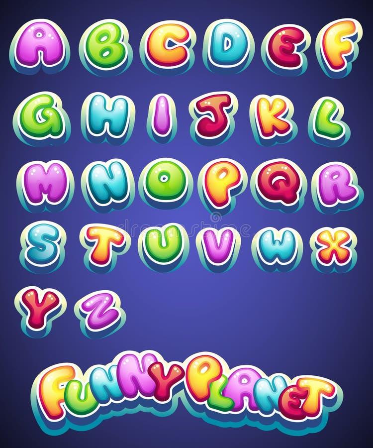 Uppsättningen av tecknade filmen färgade bokstäver för garnering av olika namn för lekar böcker och rengöringsdukdesign royaltyfri fotografi
