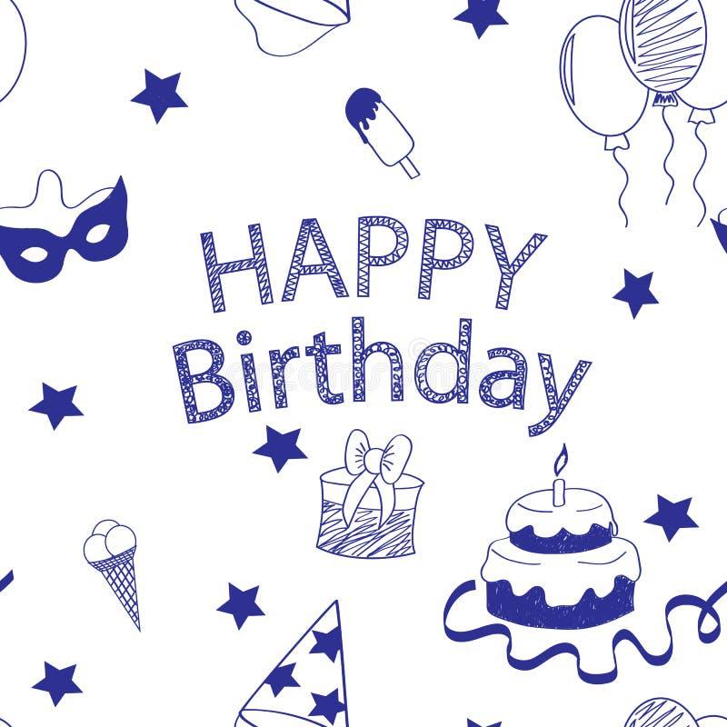 Uppsättningen av tillbehör för lycklig födelsedag som är handskriven skissar klottrar vektor illustrationer