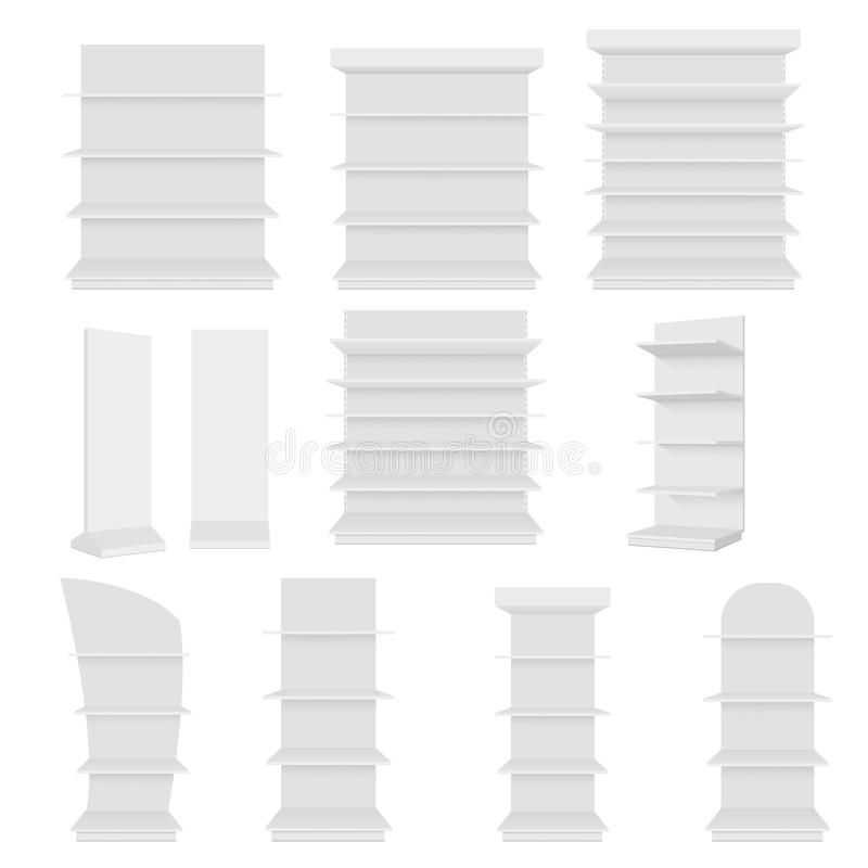 Uppsättningen av tomt tomt ställer ut skärm med återförsäljnings- hyllor Bekläda beskådar Vektoråtlöje upp mallen som är klar för vektor illustrationer