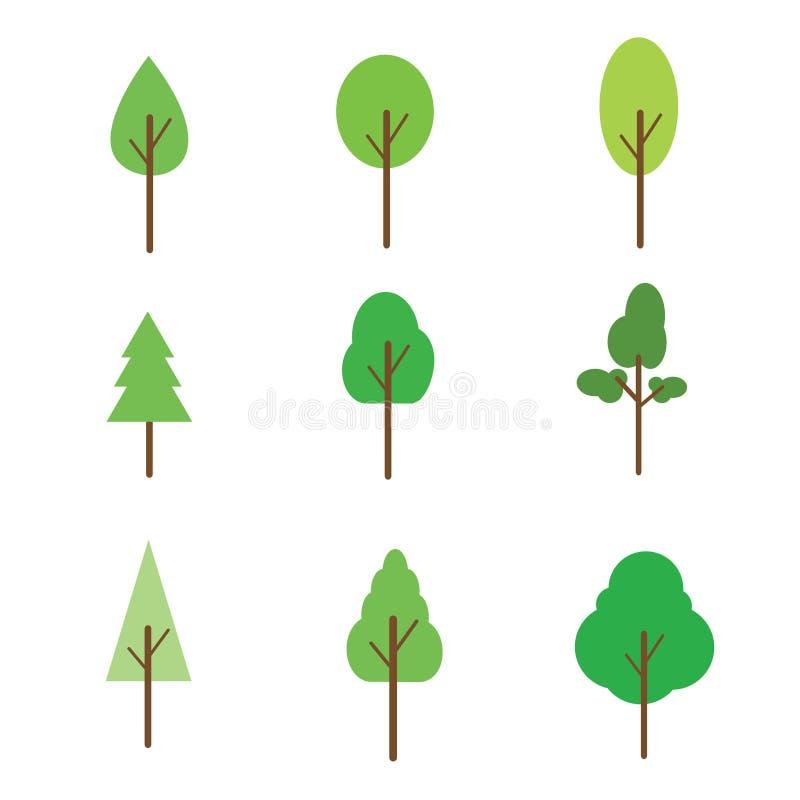 Uppsättningen av träd sänker symbolen stock illustrationer