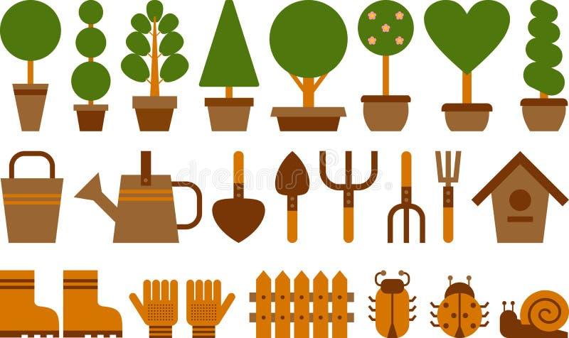 Uppsättning av trädgårds- symboler stock illustrationer