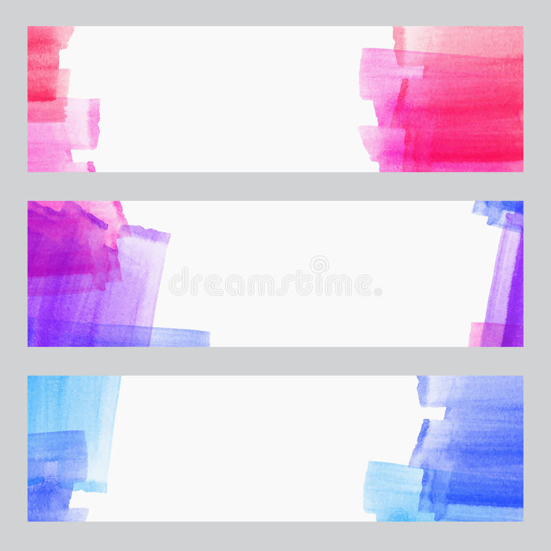 Uppsättningen av tre baner, abstrakta titelrader med vattenfärgen ser färgrika slaglängder, konstnärlig samling för abstrakt bakg stock illustrationer