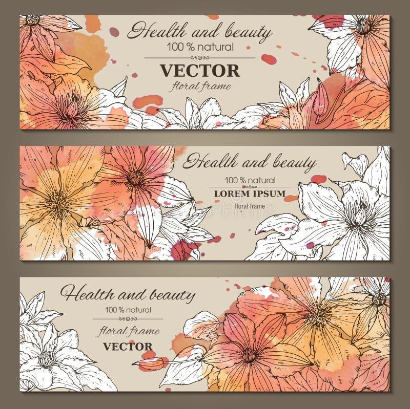 Uppsättningen av tre horisontalbaner med härliga klematiers blommar royaltyfri illustrationer