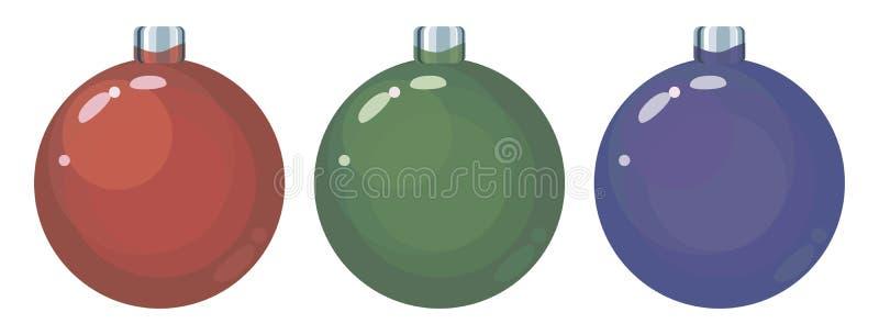 Uppsättningen av tre kulöra röda, gröna och blåa exponeringsglasjul klumpa ihop sig leksakobjekt som isoleras på en vit bakgrund royaltyfri illustrationer