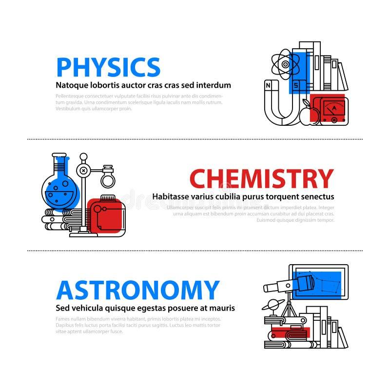 Uppsättningen av tre rengöringsdukbaner om utbildnings- och högskolaämnen i plan illustration utformar Fysik, kemi och astronomi royaltyfri illustrationer