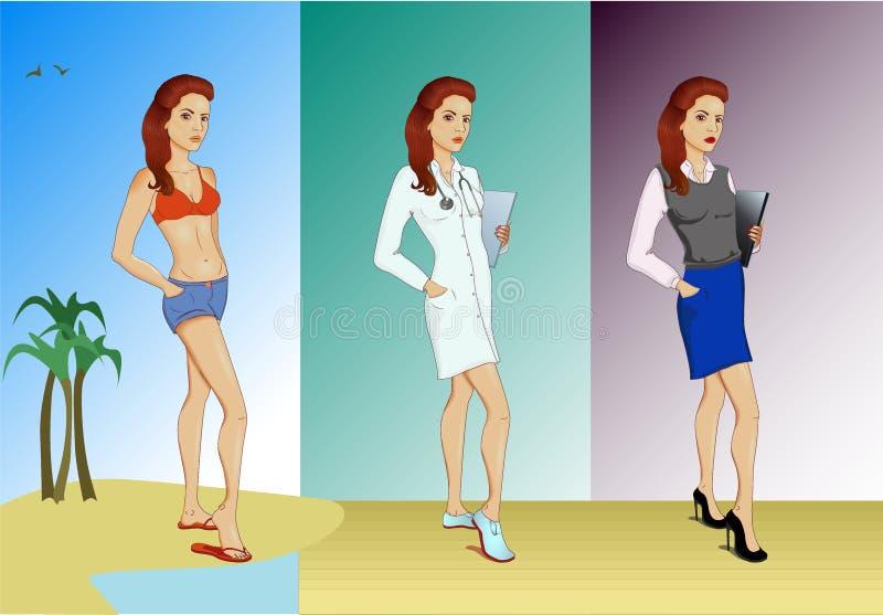 Uppsättningen av tre unga kvinnor i olik kläder arkivbild