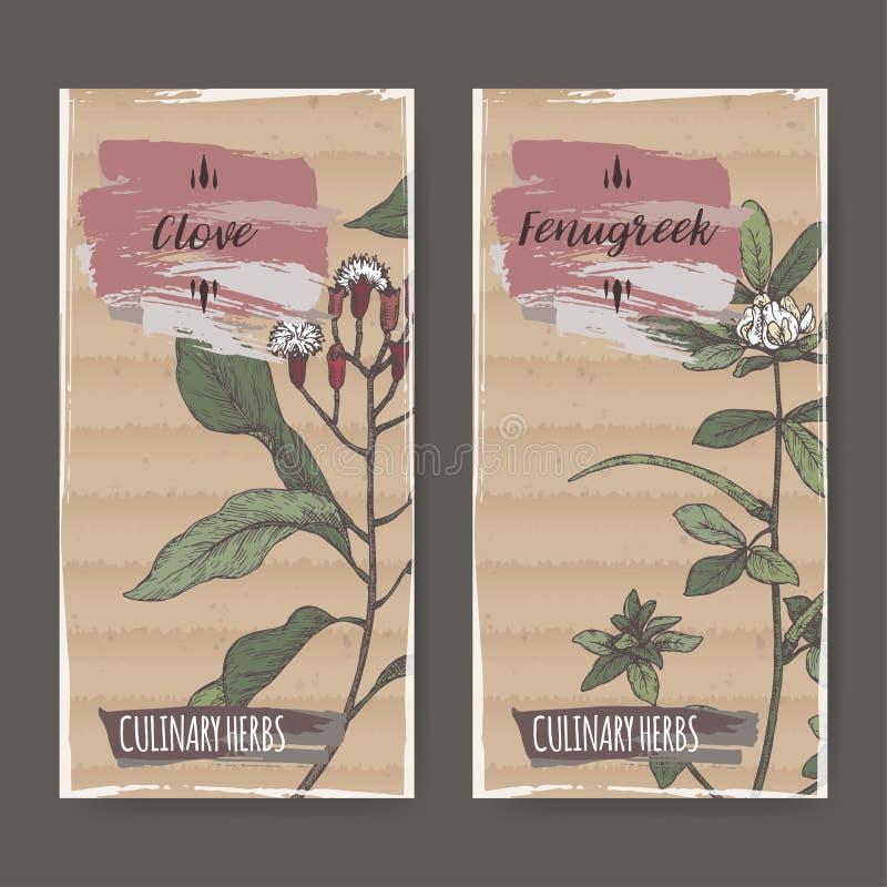 Uppsättningen av två etiketter med dragen färg för kryddnejlika och för bockhornsklöver handen skissar vektor illustrationer