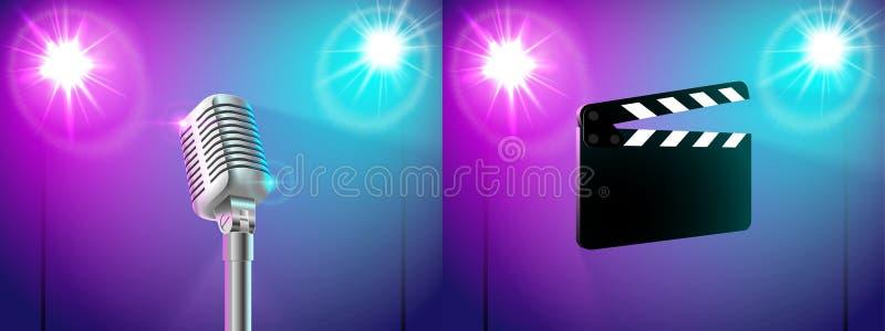 Uppsättningen av två illustrationer kritiserar, mikrofonen i ljuset av två strålkastare royaltyfri illustrationer