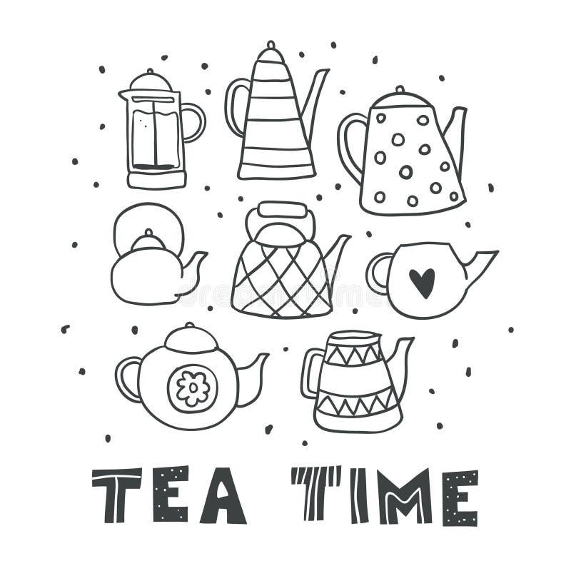 Uppsättningen av utdraget te för gullig översiktshand lägger in isolerat royaltyfri illustrationer