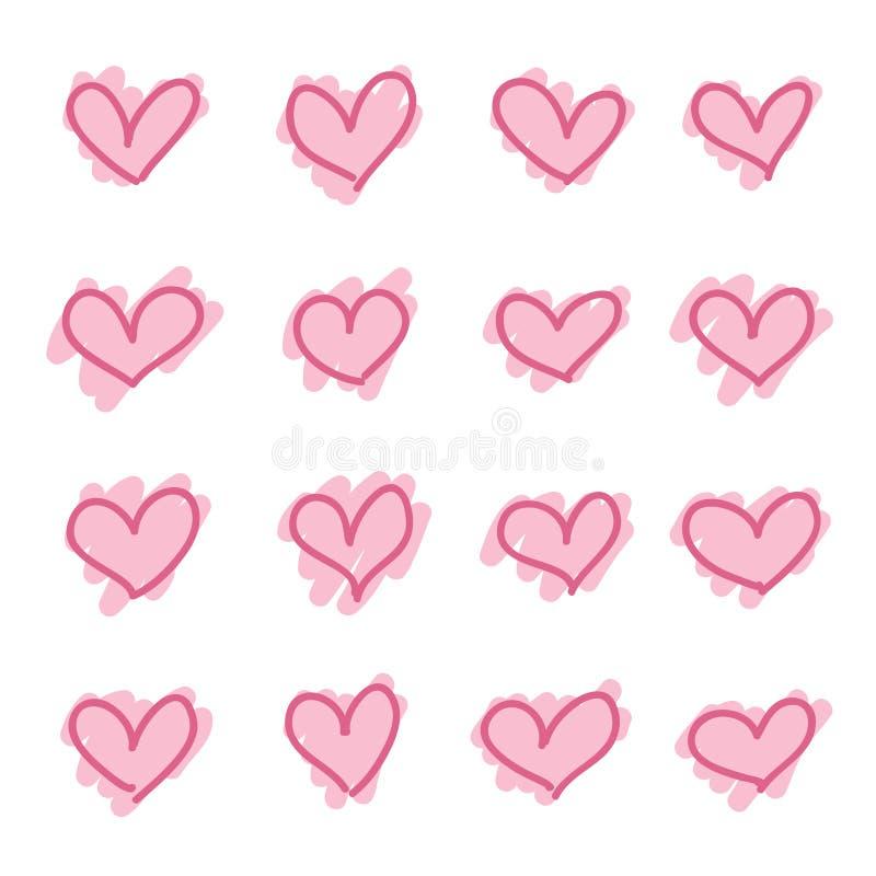 Uppsättningen av utdragna hjärtor för rosa hand skissar royaltyfri illustrationer
