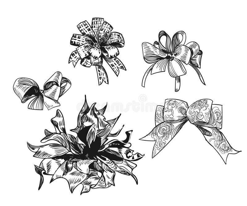 Uppsättningen av utdragna pilbågar för gåvor skissar vektorjul planlägger beståndsdelar vektor illustrationer