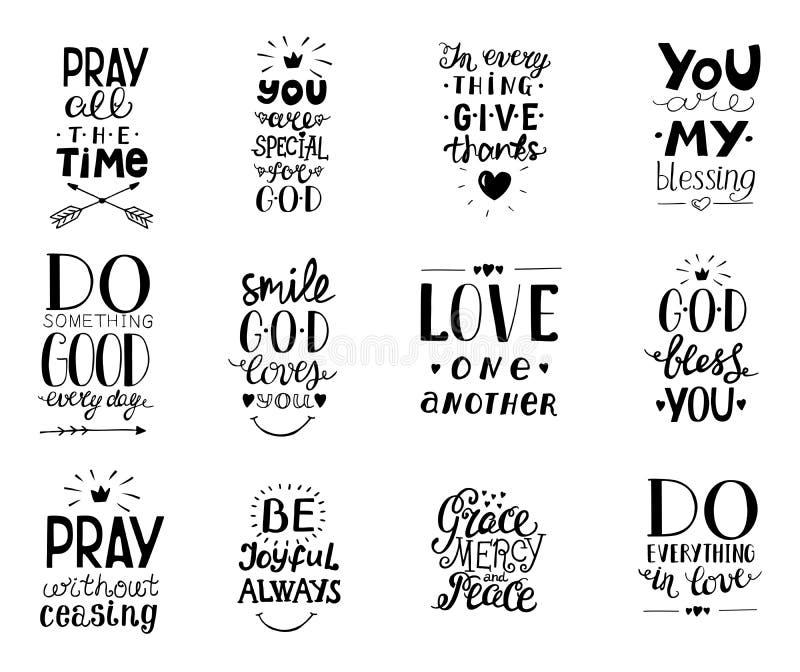 Uppsättningen av 12 välsignelser för quotesYou för handbokstäver kristna, gör goda varje dag, nåd, förskoning, älskar sig fred, b royaltyfri illustrationer
