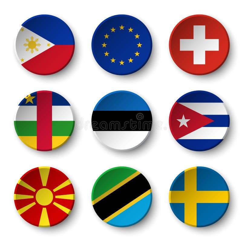 Uppsättningen av världsflaggarundan förser med märke Filippinerna EU för europeisk union switzerland afrikansk central republik e vektor illustrationer