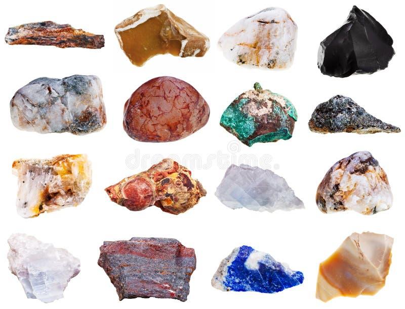Uppsättningen av vaggar mineraler royaltyfria foton