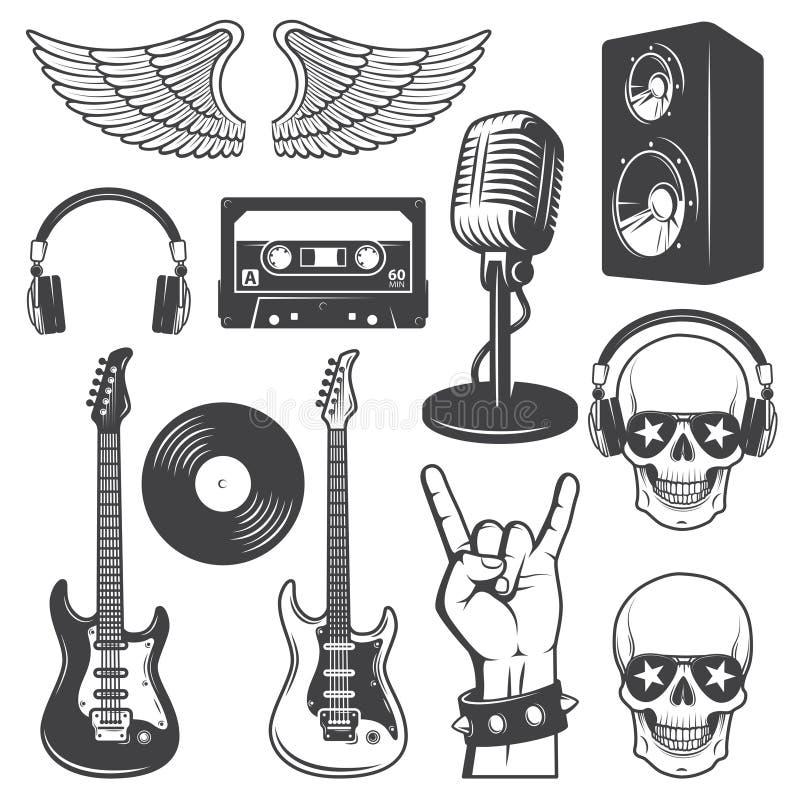 Uppsättningen av vaggar - och - rullar musikbeståndsdelar vektor illustrationer