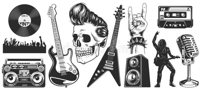 Uppsättningen av vaggar - och - rullar musikemblem royaltyfri illustrationer