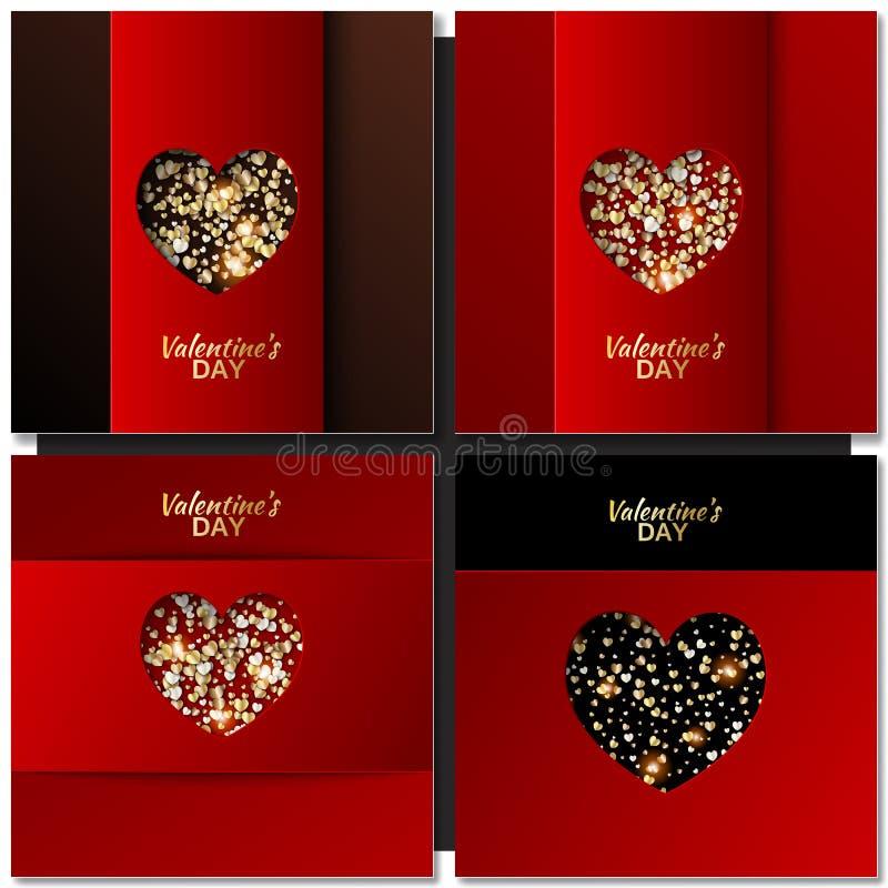 Uppsättningen av valentindagen cards bakgrund med guld- hjärta stock illustrationer