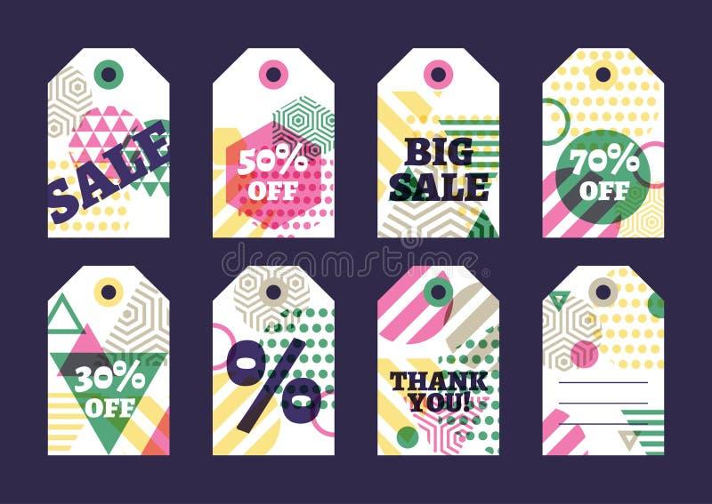 Uppsättningen av vektorförsäljnings- eller gåvaetiketter planlägger Idérik flerfärgad geom stock illustrationer