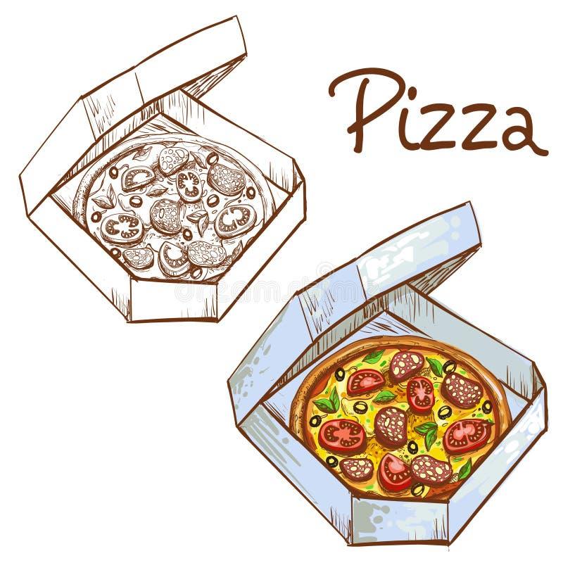 Uppsättningen av vektorillustrationer av färg och svartvit hel pizza i ett tagande-bort boxas royaltyfri illustrationer