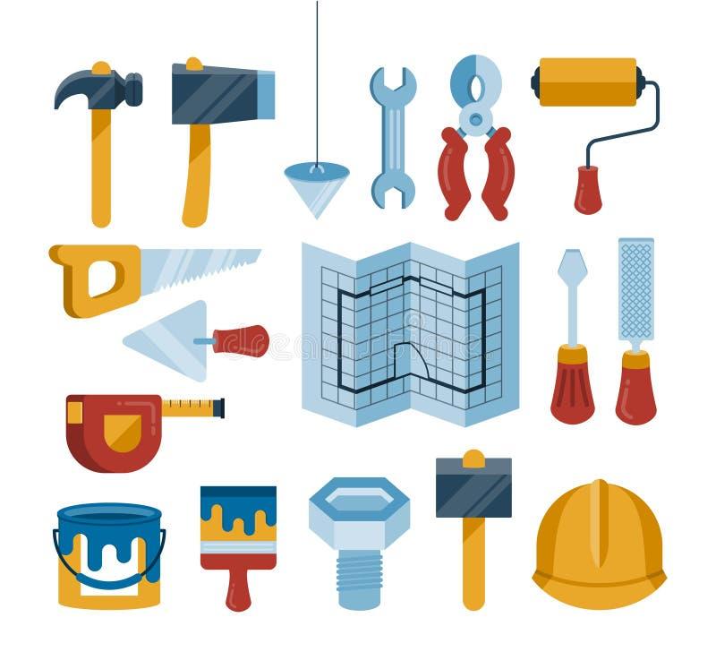 Uppsättningen av vektorkonstruktion bearbetar symboler stock illustrationer