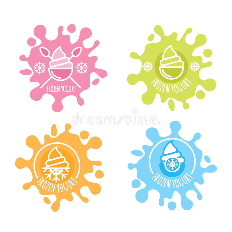Uppsättningen av vektorlogoen, etikett av den djupfrysta yoghurten i flerfärgat mjölkar färgstänk royaltyfri illustrationer