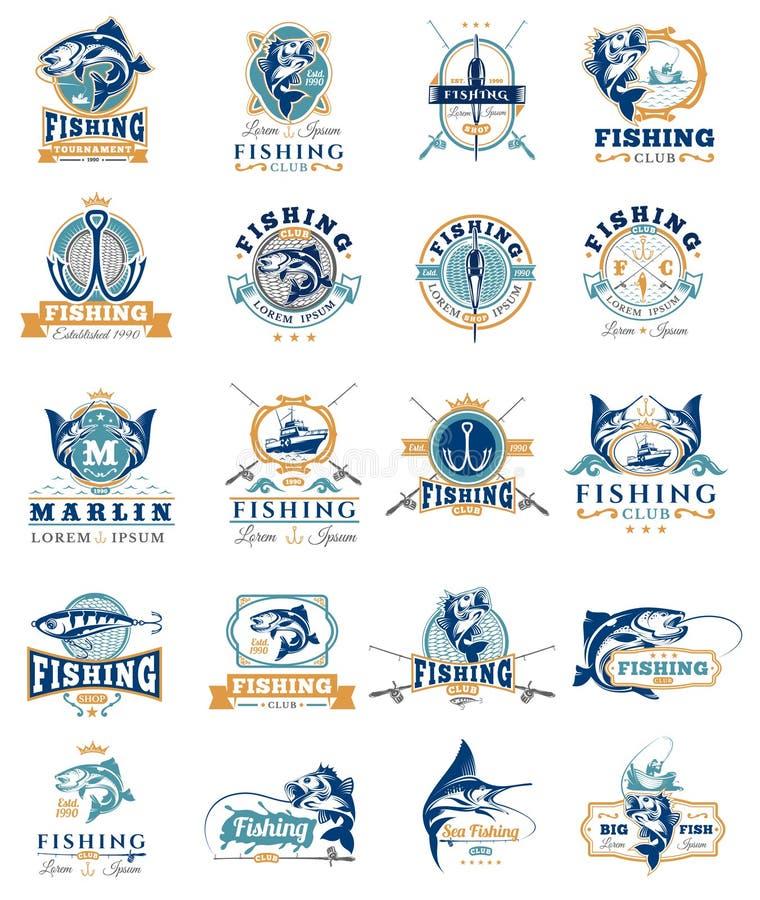 Uppsättningen av vektorn förser med märke, klistermärkear på att fånga fisken royaltyfri illustrationer