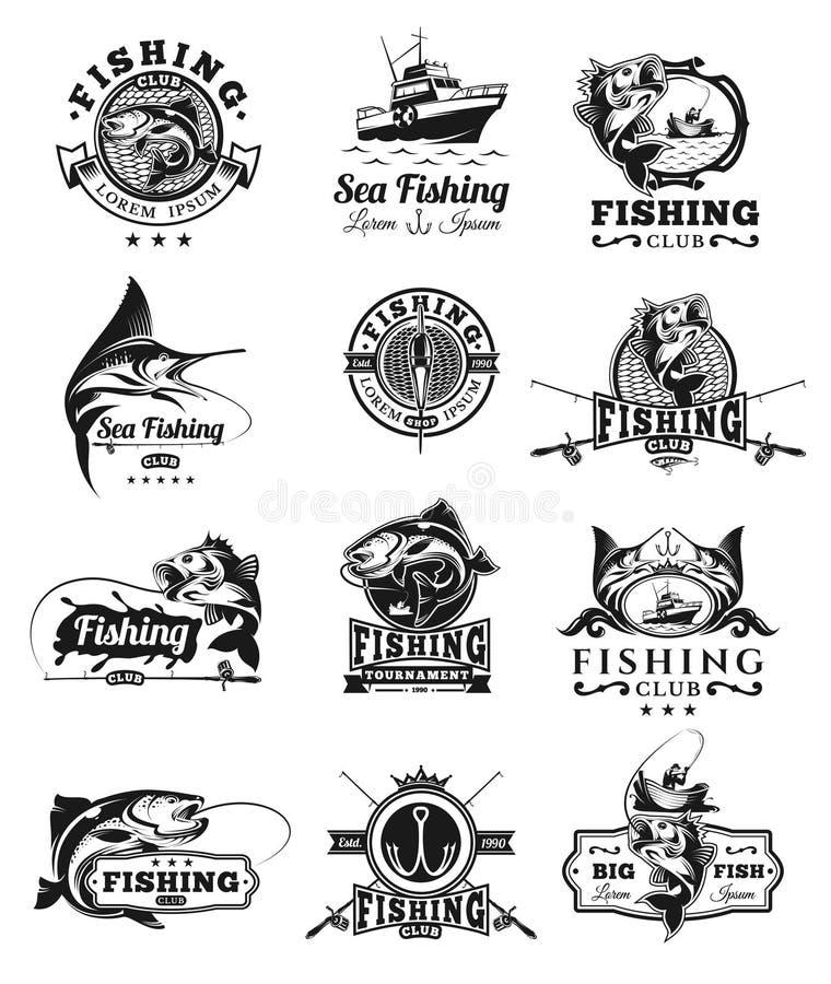 Uppsättningen av vektorn förser med märke, klistermärkear på att fånga fisken vektor illustrationer