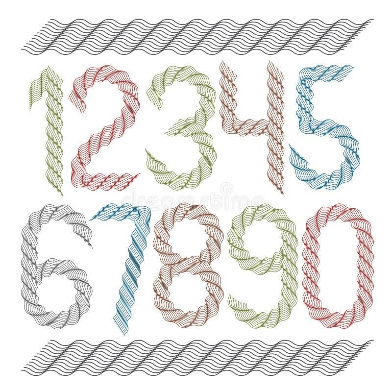 Uppsättningen av vektorn rundade nummer skapade utsmyckad guilloche, dekorerar vågor Kan anv?ndas f?r certifikatdesign royaltyfri illustrationer