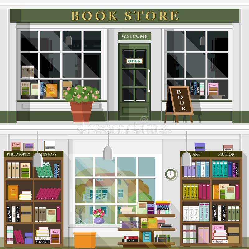 Uppsättningen av vektorn som framlänges specificeras, planlägger den bokhandelfasaden och inre Den kalla grafiska inredesignen fö royaltyfri illustrationer