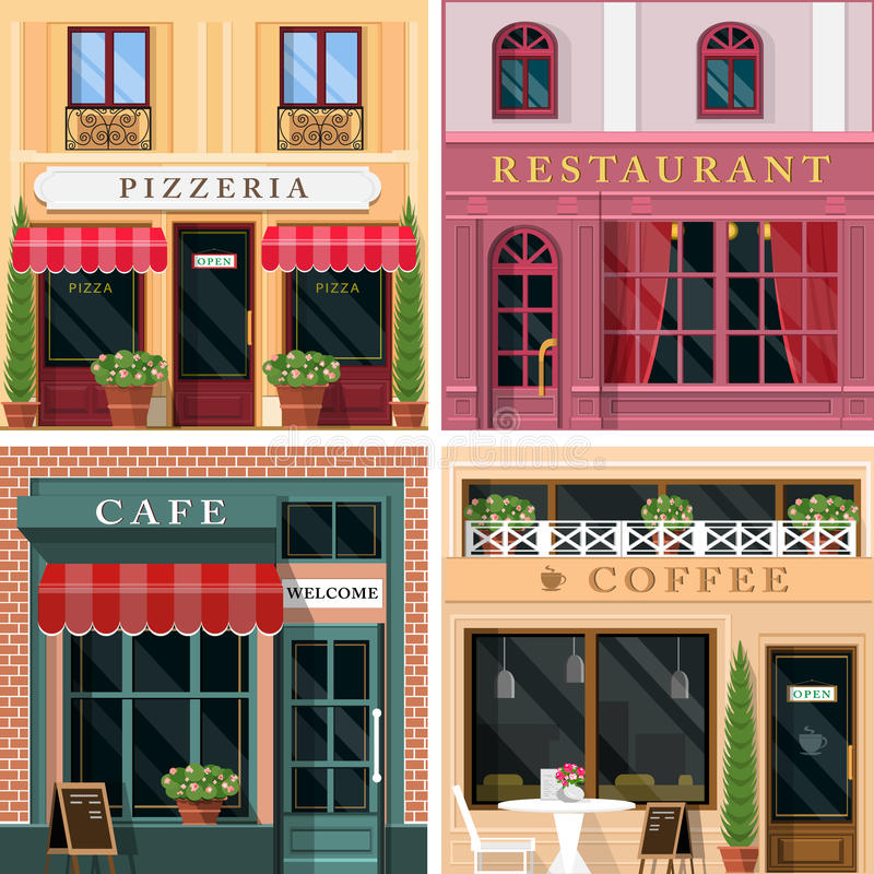 Uppsättningen av vektorn som framlänges specificeras, planlägger restauranger och kaféfasadsymboler Kall grafisk yttre design för stock illustrationer