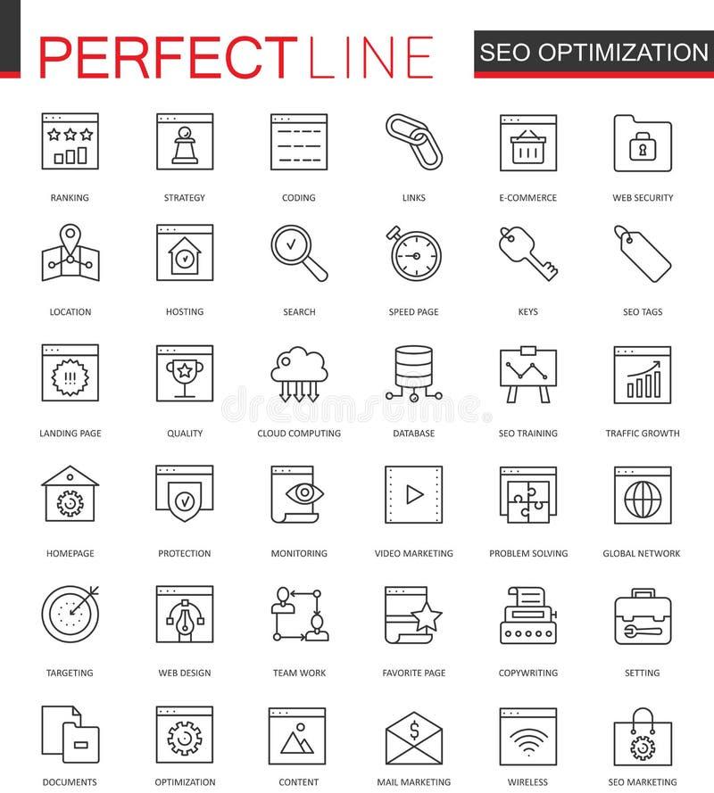 Uppsättningen av vektorSEO Search Engine Optimization den tunna linjen rengöringsduksymboler ställde in Design för översiktsslagl stock illustrationer