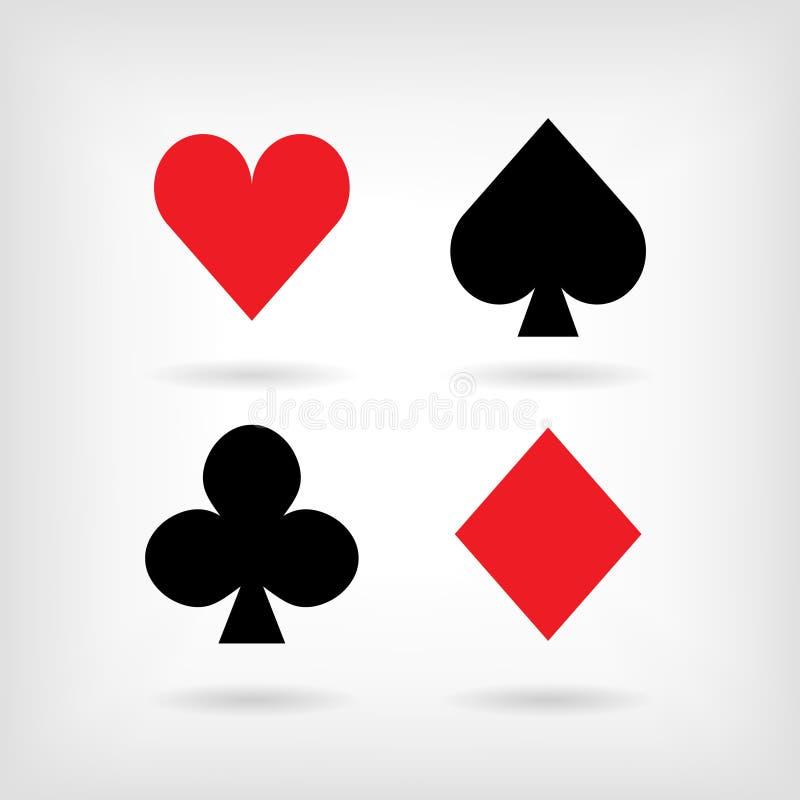Uppsättningen av vektorsymboler av att spela kort passar med skuggor royaltyfri illustrationer