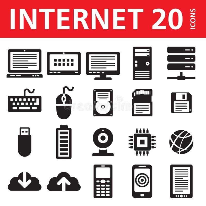 Internet- & för dator 20 vektorsymboler vektor illustrationer