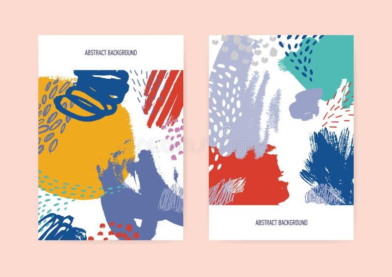 Uppsättningen av vertikala reklamblad- eller vykortmallar som dekoreras med den kaotiska vibrerande handen målad textur med, klot vektor illustrationer