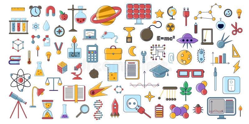 Uppsättningen av vetenskapliga vektorlägenhetsymboler, utbildningstecknet och symboler i kulör modern vetenskap planlägger med be stock illustrationer