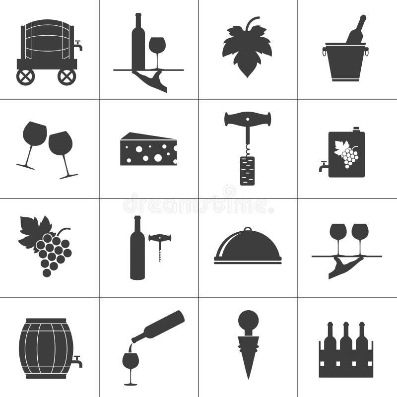 Uppsättningen av vin gällde symboler på vit bakgrund royaltyfri illustrationer