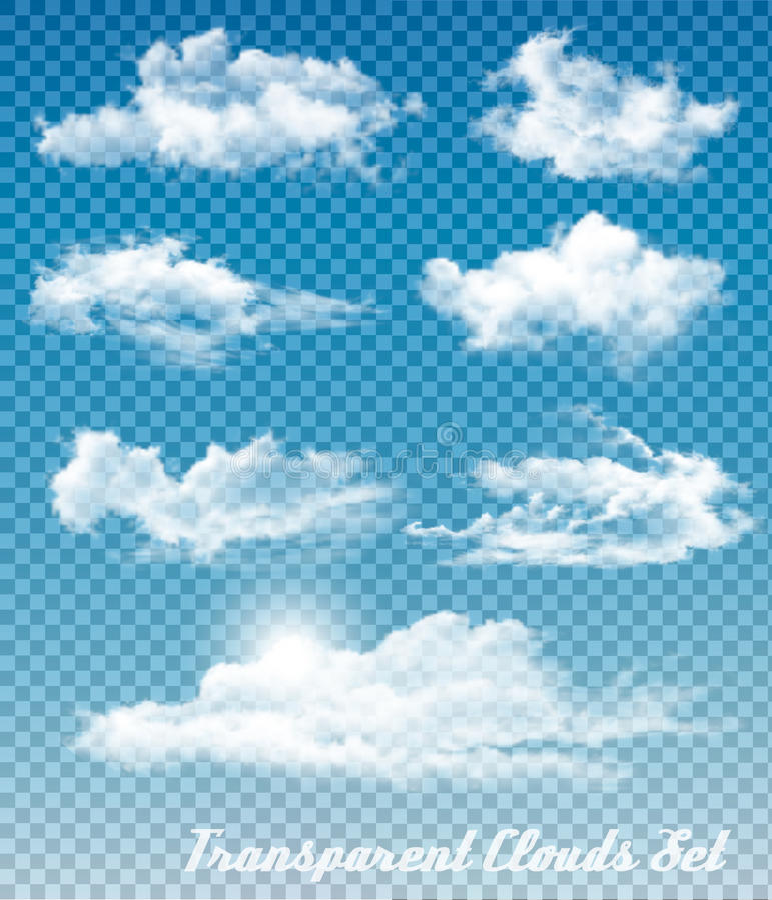 Uppsättningen av vit fördunklar på en genomskinlig himmelbakgrund royaltyfri illustrationer