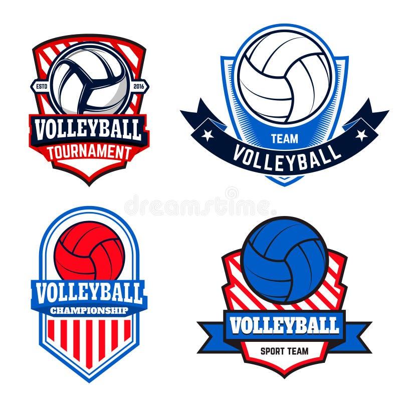 Uppsättningen av volleybolletiketter och logoer för volleyboll teams royaltyfri illustrationer