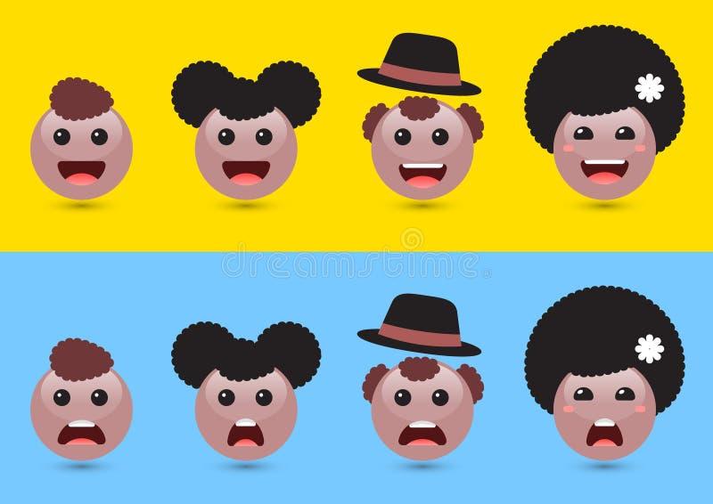 Uppsättningen av volymbruntkvinnan, man, lurar emoji Rolig uttryckande soc stock illustrationer