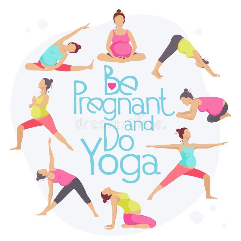 Uppsättningen av yoga poserar för gravida kvinnor vektor illustrationer
