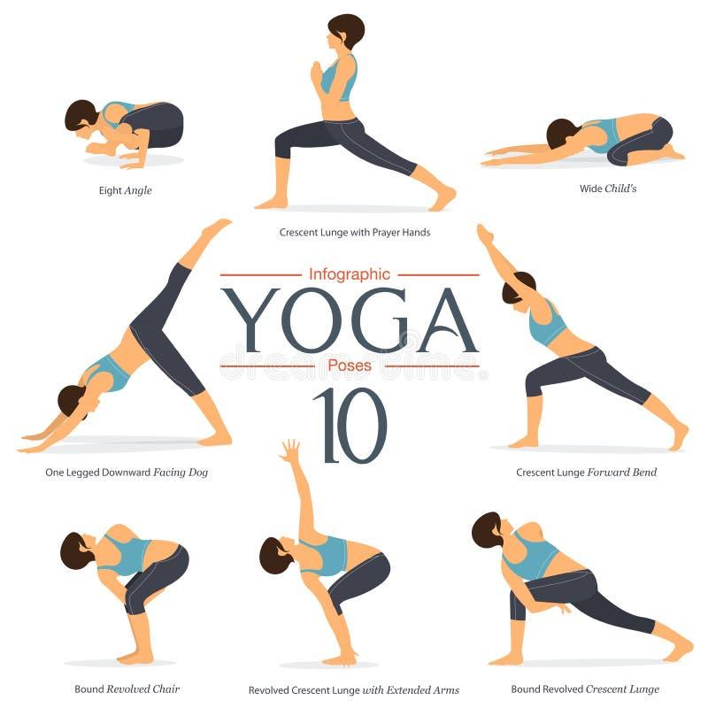 Uppsättningen av yoga 8 poserar i plan design Kvinnadiagram övar i den blåa sportswear och svartyogaflåsandet för yogainfographic stock illustrationer