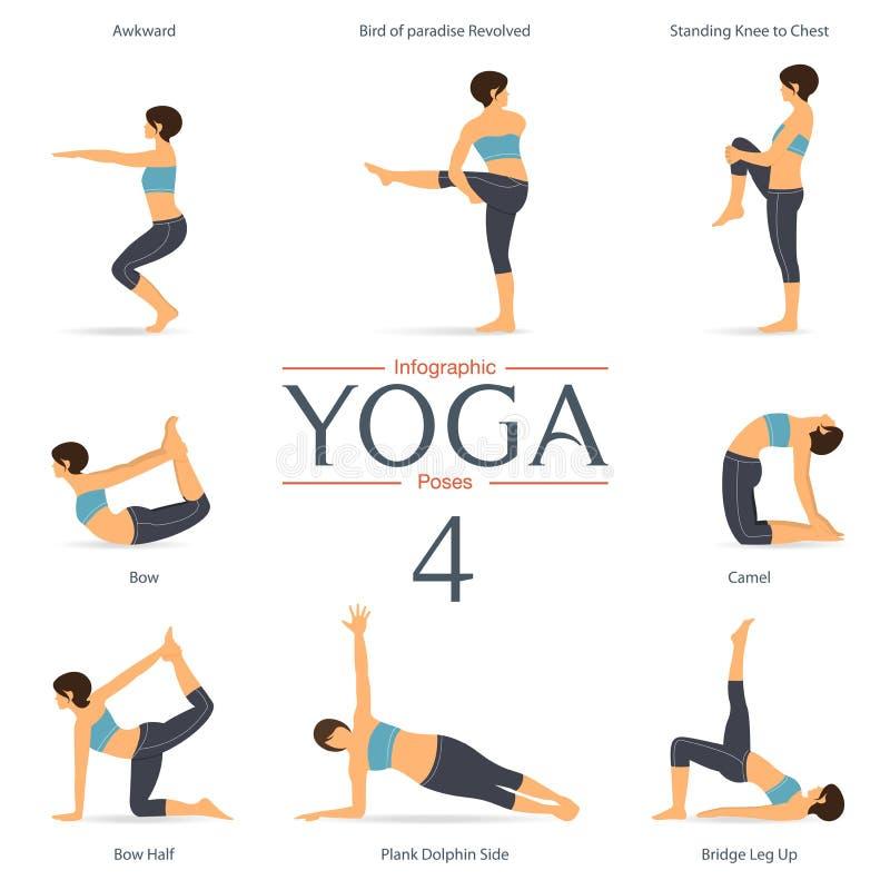 Uppsättningen av yoga poserar i plan design vektor royaltyfri illustrationer