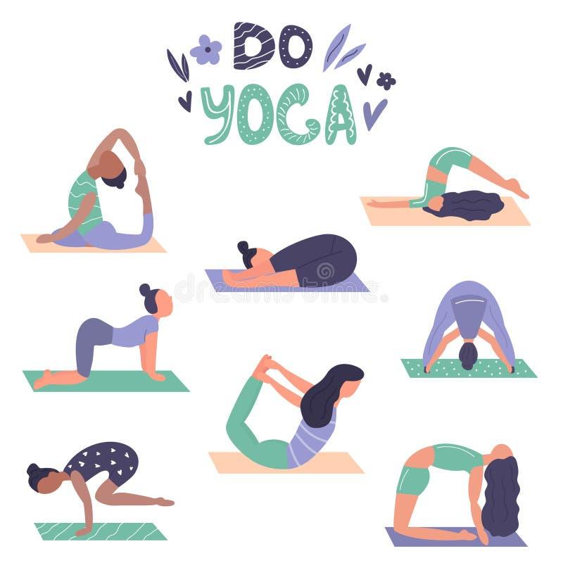 Uppsättningen av yogaflickor i olika asanas, poserar royaltyfri illustrationer